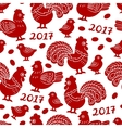 Seamless pattern with red cock rooster - symbol vector image
