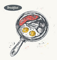 hand drawn sketch breakfast set frying pan with vector image