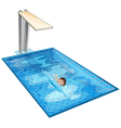 A swimming pool with a young boy vector image vector image