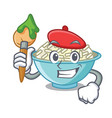 artist rice bowl character cartoon vector image