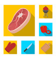 barbecue and equipment flat icons in set vector image vector image