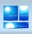 blue invitation cards with lens flare vector image vector image