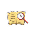 book icon with magnifying glass showing a letter vector image