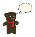 cartoon cute black bear with thought bubble vector image vector image