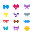 cartoon gift bows icon set vector image vector image