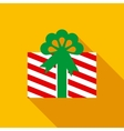 Christmas Box with Gift in Flat Style vector image