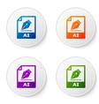 color ai file document icon download ai button vector image vector image