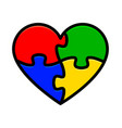 colorful heart puzzle vector image