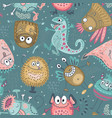 colorful seamless pattern with funny vector image vector image