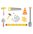 construction equipment kit workman hammer vector image
