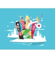 Couple snowboarders boy and girl vector image vector image