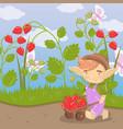 cute cartoon troll with farmer wooden cart full of vector image