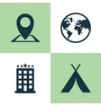 exploration icons set collection of building vector image