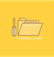 folder tool repair resource service flat line vector image
