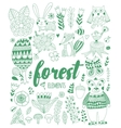 forest elements in doodle childish style vector image vector image