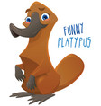 funny happy cartoon platypus vector image vector image