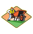 Gardener Pushing Wheelbarrow Retro vector image vector image