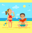 girl on beach eating ice cream and boy with fruit vector image vector image