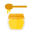 Glass jar of honey with wooden drizzler isolated vector image