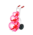 Hand Truck Loading Three Beautiful Red Heart vector image vector image