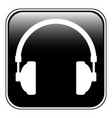 headphones icon on black vector image vector image