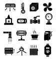 heating icons set vector image vector image