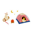 humanized animal characters having camping vector image vector image