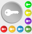 key icon sign Symbol on five flat buttons vector image
