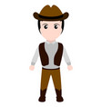 kid with a cowboy costume halloween vector image