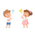 kids good idea thinking people with question vector image vector image