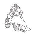 little kawaii mermaid with dolphin vector image vector image