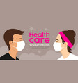 man and woman with mask health care virus vector image