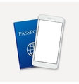 modern smartphone with passport travel vector image