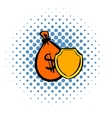 Money bag and a shield icon comics style vector image vector image