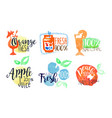 natural fresh juice bright labels set eco bio vector image