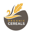 organic cereals emblem ear of wheat ecology symbol vector image