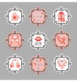 Pink Valentines Day emblem and design elements set vector image