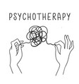 psychotherapy concept hands holding tangled vector image