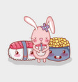rabbit and japanese food vector image