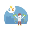 rich man has a lot of different currencies dollar vector image vector image