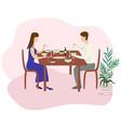 romantic family dinner valentines dinner flat vector image