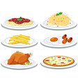 set of different meals vector image vector image