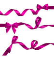 set of realistic pink bow with long curled pink vector image vector image