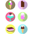 set stickers icons ice cream icecream desert color vector image vector image
