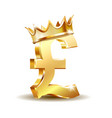 shiny golden pound currency symbol with golden vector image vector image