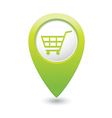 shop basket icon green pointer vector image vector image