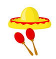 sombrero and maracas - symbols of mexico vector image vector image