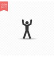 stick figure a man raises his hand silhouette vector image