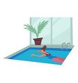 swimming pool girl in swimsuit in water sport or vector image vector image