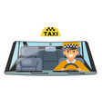 taxi vehicle interior driver car wheel ride vector image